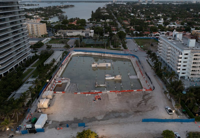 In this aerial view, the cleared lot that was where the collapsed 12-story Champlain Towers South condo building once stood on July 31, 2021 in Surfside, Florida. A total of 98 people died when the building partially collapsed on June 24, 2021.