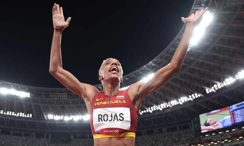Yulimar Rojas of Team Venezuela celebrates in the Women's Triple Jump Final on day nine of the Tokyo 2020 Olympic Games at Olympic Stadium on August 01, 2021 in Tokyo, Japan. Rojas set a new world record at 15.67m.
