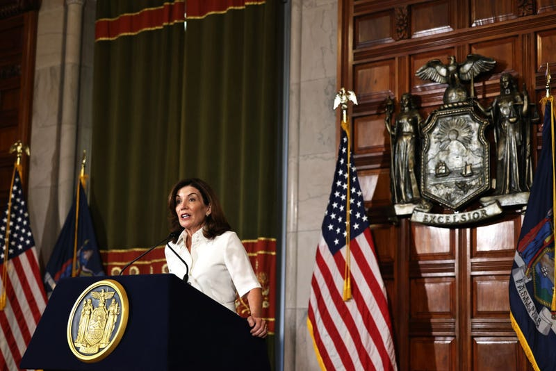New York Gov. Kathy Hochul speaks after taking her ceremonial oath of office at the New York State Capitol on August 24, 2021 in Albany, New York. Gov. Hochul was sworn in today as New York State's 57th Governor, making her New York's first female governor. Hochul took over after Gov. Andrew Cuomo announced he would resign following the release of a report by the NYS Attorney General Letitia James, that concluded Cuomo had sexually harassed nearly a dozen women.