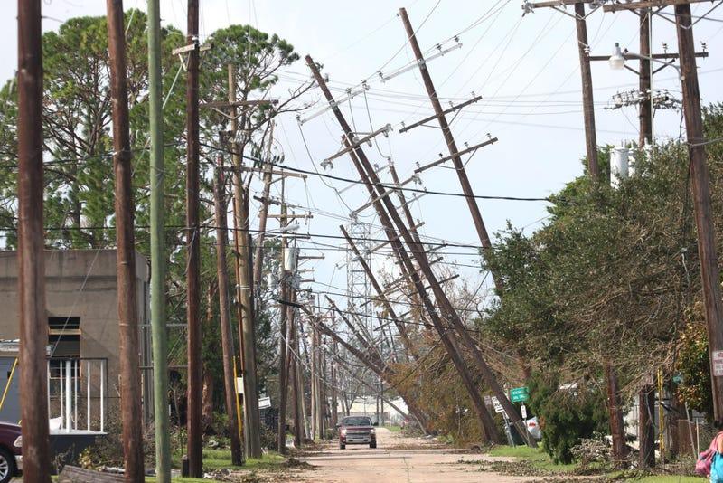 Power poles damaged by Ida