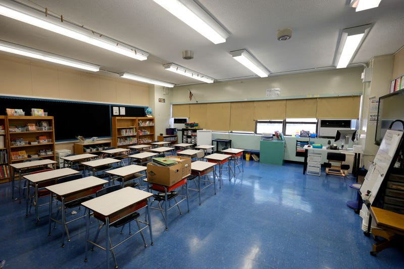 An empty classroom at Yung Wing School P.S. 124 shows that a teacher has prepared for the start of the school year on September 02, 2021 in New York City.