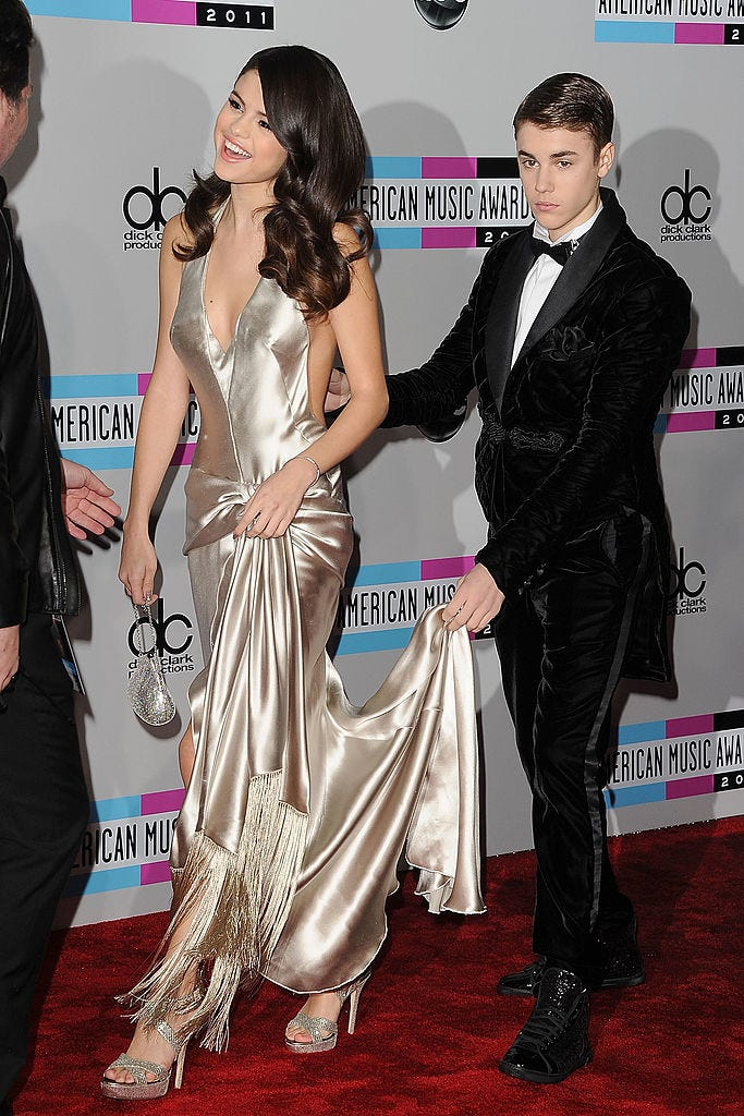 With Justin Bieber at the American Music Awards, 2011