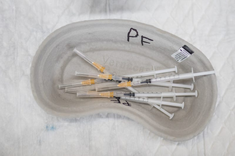 Pfizer vaccines against Covid-19 prepared for injection to patients as a third dose on September 15, 2021 in Ibiza, Spain.