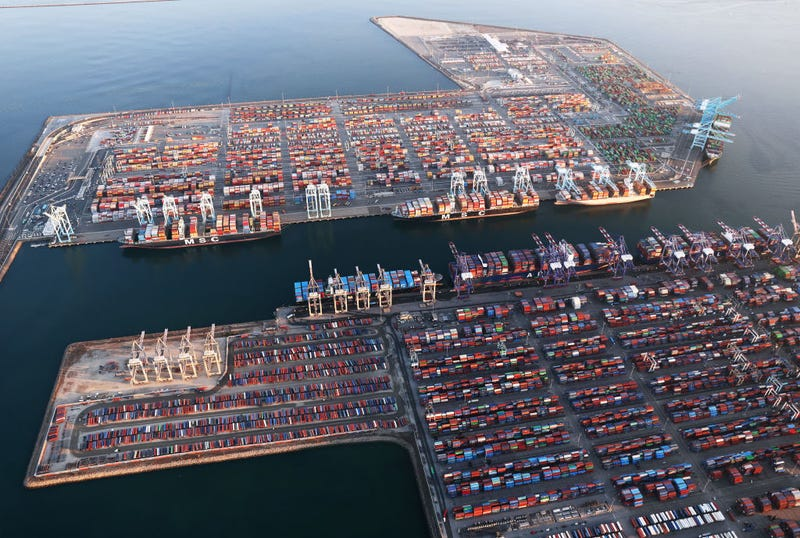 LOS ANGELES, CALIFORNIA - SEPTEMBER 20: In an aerial view, shipping containers and container ships are seen at the Port of Los Angeles on September 20, 2021 near Los Angeles, California. Amid nationwide record-high demand for imported goods and supply chain issues, the twin ports of Los Angeles and Long Beach are currently seeing unprecedented congestion. On September 17, there were a record total of 147 ships, 95 of which were container ships, in the twin ports, which move about 40 percent of all cargo containers entering the U.S.