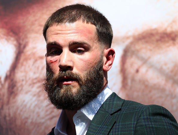 Caleb Plant after a face-off with Canelo Alvarez during a press conference ahead of their super middleweight fight on November 6 at The Beverly Hilton on September 21, 2021 in Beverly Hills, California.