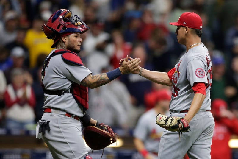 St. Louis Cardinals' Players Yadier Molina and Giovanny Gallegos