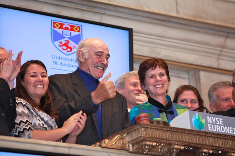 Sean Connery and Principal of the University of St. Andrews, Scotland , Professor Louise Richardson (R) ring the opening bell at New York Stock Exchange on May 17, 2012 in New York City.