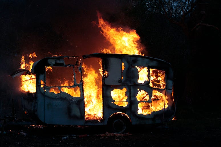 Trailer, Fire, Caravan, Burning, Flames