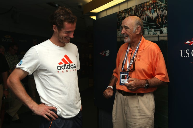 Andy Murray of Great Britain speaks with actor Sean Connery after his men's singles semifinal match against Tomas Berdych of Czech Republic on Day Thirteen of the 2012 US Open at USTA Billie Jean King National Tennis Center on September 8, 2012 in NYC.