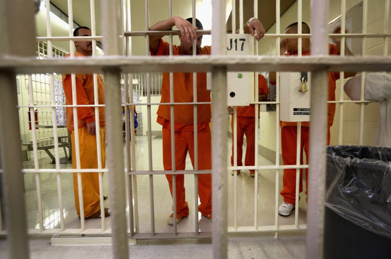 Immigration detainees stand behind bars at the Immigration and Customs Enforcement (ICE)