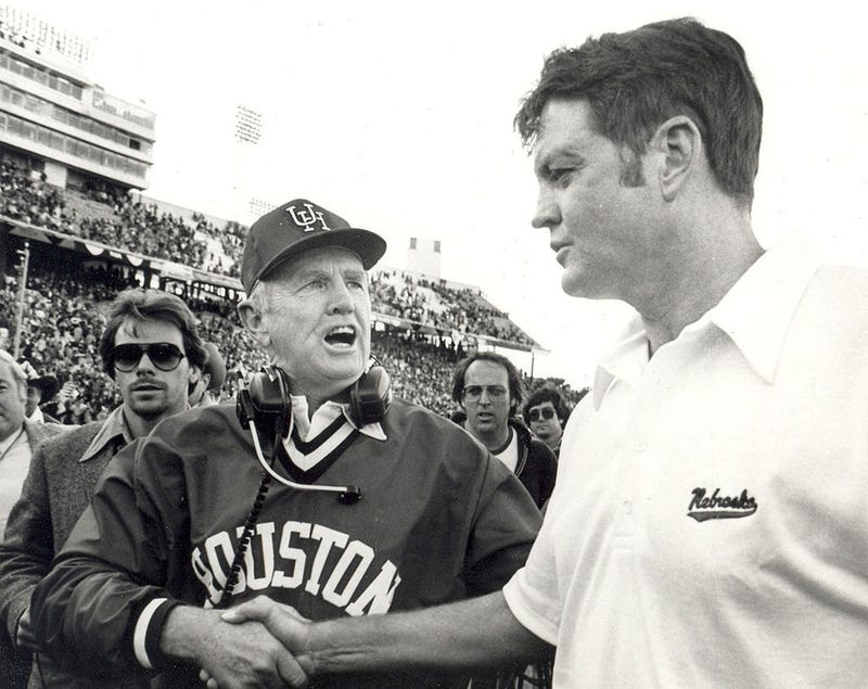 Bill Yeoman, head coach of the University of Houston Cougars football team and Bob Osborne head coach the Nebraska Cornhuskers shake hands after the 1980 Cotton Bowl on January 1, 1980 at the Cotton Bowl in Dallas, Texas. The Cougars won 17-14.