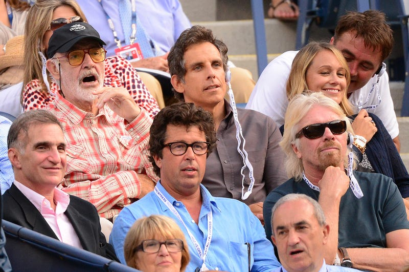 Sean Connery (L) and Ben Stiller (C) and businessman Richard Branson (bottom R) watch French tennis player Richard Gasquet play a point against Spain's Rafael Nadal during their 2013 US Open men's semifinals match at the USTA Billie Jean King National Tennis Center in New York on September 7, 2013.
