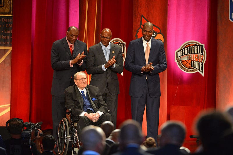 Inductee Guy Lewis with Elvin Hayes, Clyde Drexler, and Hakeem Olajuwon during the 2013 Basketball Hall of Fame Enshrinement Ceremony on September 8, 2013 at the Mass Mutual Center in Springfield, Massachusetts.