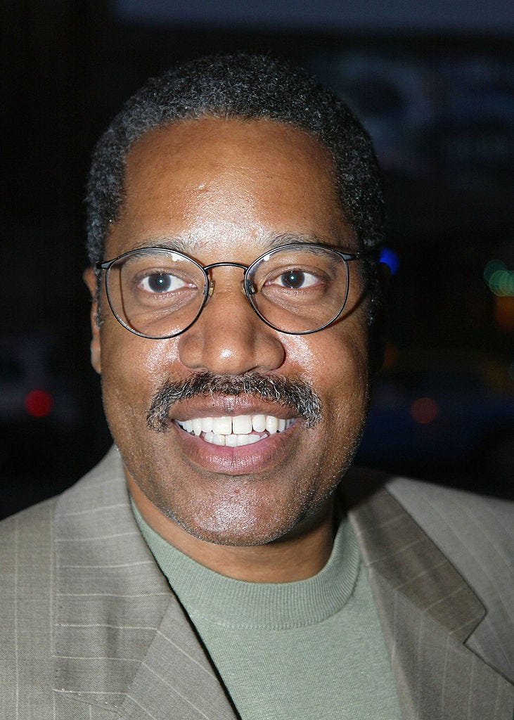 """Attorney and radio talk show host based in Southern California Larry Elder arrives for """"The Smothers Brothers show"""" at the Comedy Store on June 4, 2003 in Los Angeles, California. (Photo by Ffrazer Harrison/Getty Images)"""