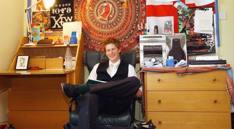 prince harry in his dorm at eton boarding school