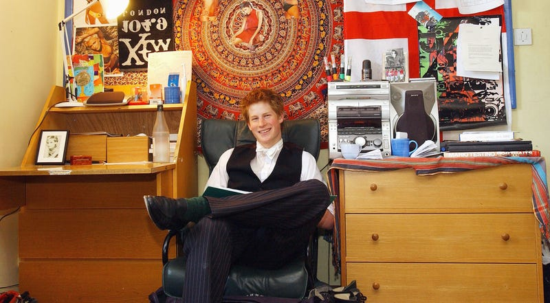 prince harry in his dorm during his last year at eton college in 2003