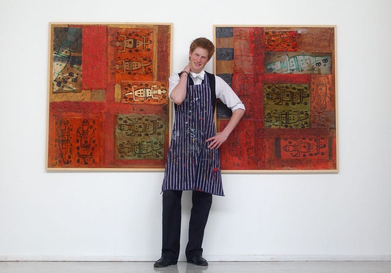prince harry, who has a professed interests in aboriginal art, took up painting during his time at eton college