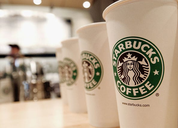 Beverage cups featuring the logo of Starbucks Coffee