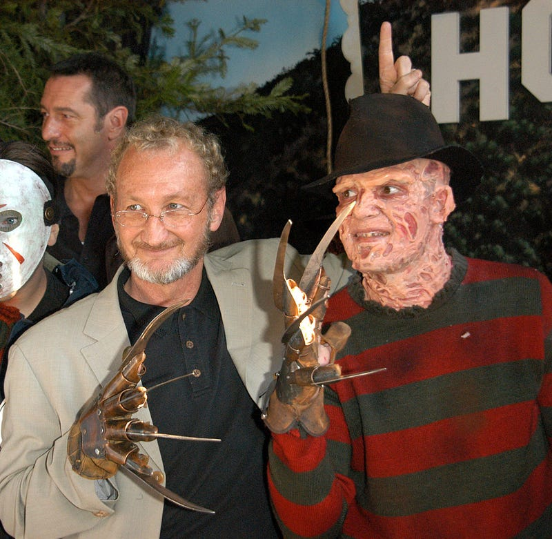 """Actor Robert Englund poses with Freddy look-a-like winner at the Hollywood Wax Mueum for the debut of the DVD release of """"Freddy Vs. Jason"""" on January 13, 2004 in Hollywood, California."""