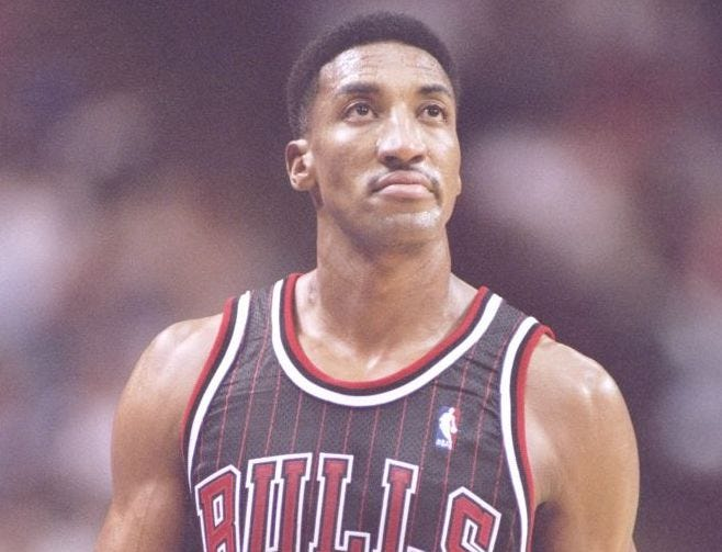 Scottie Pippen looks up during a game.