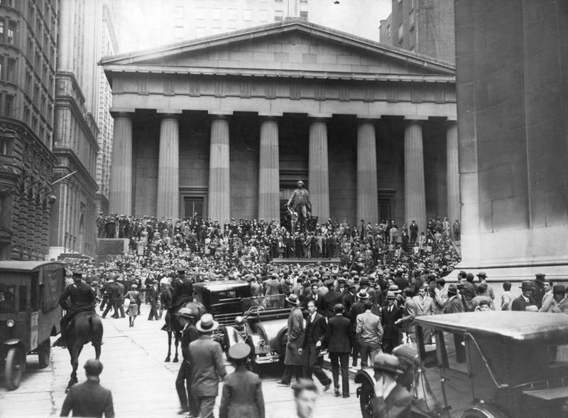 The Sub-Treasury Building opposite the Wall Street Stock Exchange, 1929