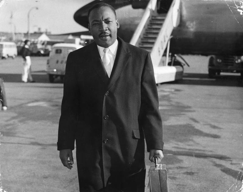 American civil rights campaigner Martin Luther King (1929 - 1968) arriving at London Airport.