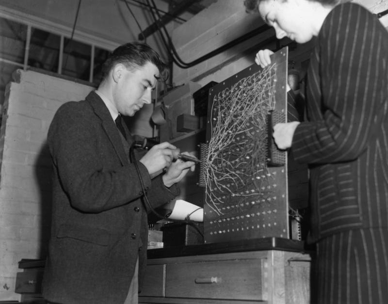 A utility model of the ENIAC (Electronic Numerical Integrator and Computer), being built at Welwyn Garden City by Dr Andrew Donald Booth on November 7, 1946. ENIAC was hailed as the world's first programmable electronic computer.
