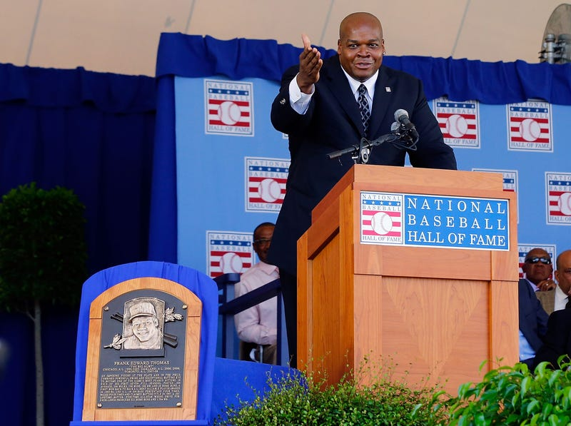 Frank Thomas during his Hall of Fame induction in Cooperstown