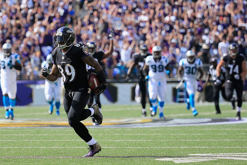 Steve Smith burns the Panthers defense for a long touchdown.