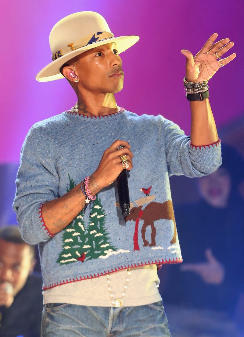 pharrell in ugly christmas sweater