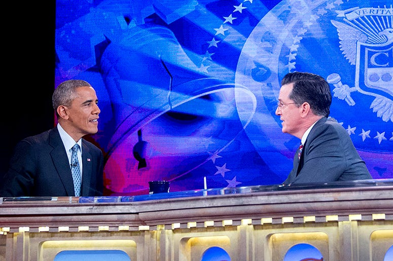 President Barack Obama and Stephen Colbert
