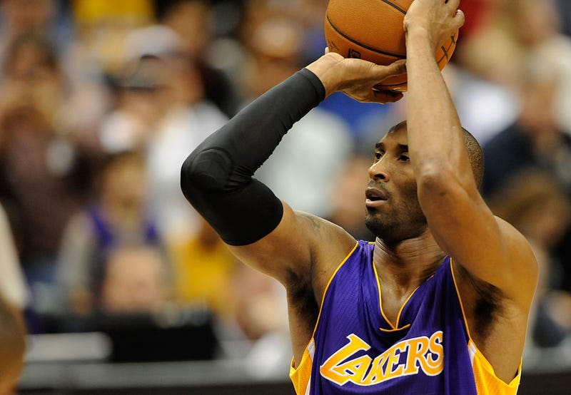 Kobe Bryant takes a free throw.