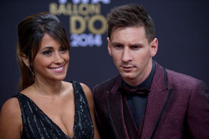 FIFA Ballon d'Or nominee Lionel Messi of Argentina and FC Barcelona and his wife Antonella Roccuzzo