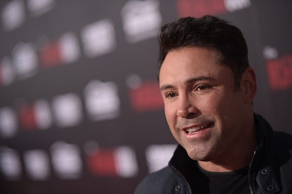 "Former professional boxer Oscar de la Hoya attends the premiere of Disney's ""McFarland, USA"" at the El Capitan Theatre on February 9, 2015 in Hollywood, California."