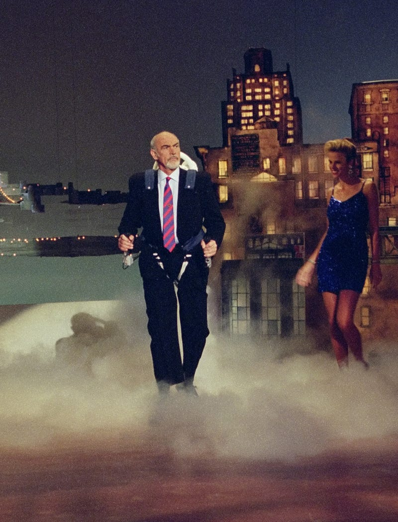Sean Connery enters the stage via Jet Pack on the Late Show with David Letterman, October 25, 1993 on the CBS Television Network. This photo is provided by CBS from the Late Show with David Letterman photo archive.