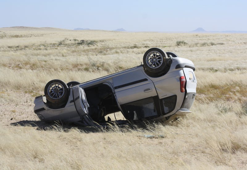 Overturned car in Remote Area