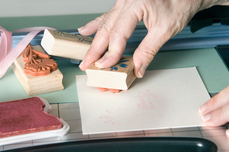 Homemade Card, Stamp, Woman' Hands