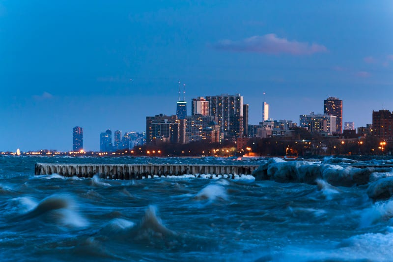 Stormy wintry weather on Lake Michigan impacting the Chicago shoreline