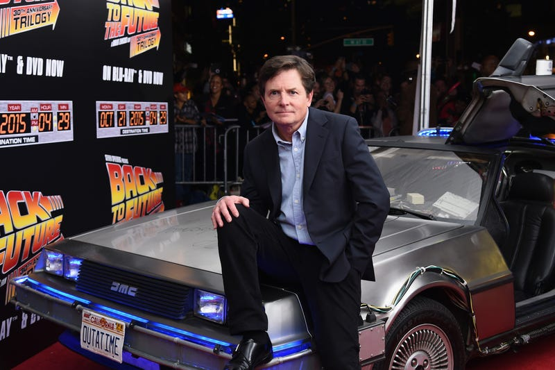 michael j fox on the delorean from back to the future