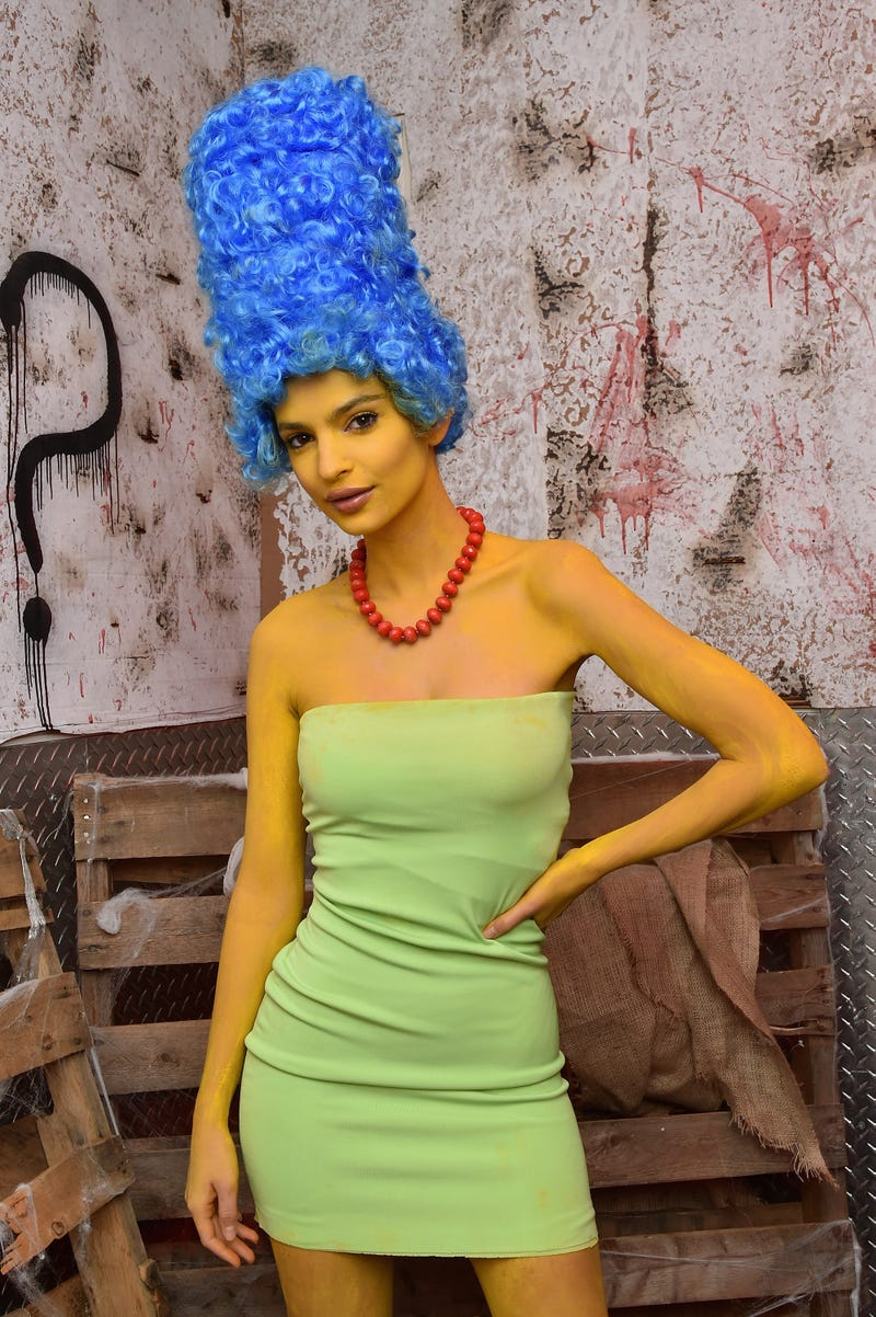 emily ratajkowski as marge simpson for halloween