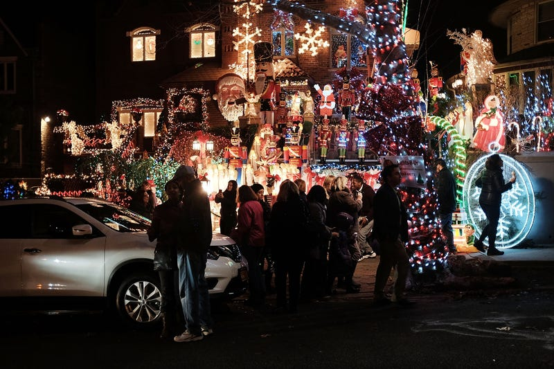 Christmas lights and other ornaments decorate a home on December 15, 2015 in the Dyker Heights