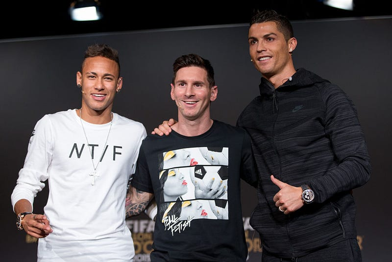 Neymar Jr of Brazil, Lionel Messi of Argentina and Cristiano Ronaldo of Portugal