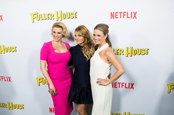 The ladies of Fuller House posing at a premiere.