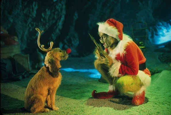 The Grinch and his dog plot to ruin Christmas.