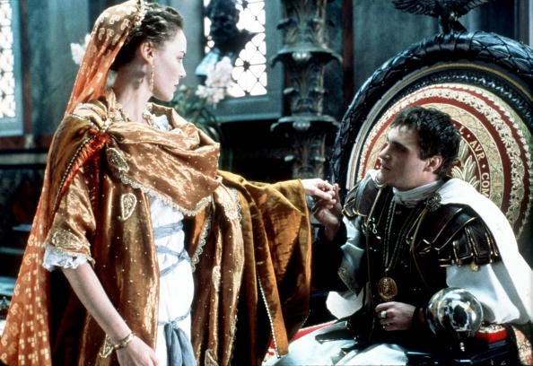 """The Emperor of Rome Commodus (Joaquin Phoenix) questions the loyalty of his sister Lucilla (Connie Nielsen) in """"Gladiator."""""""