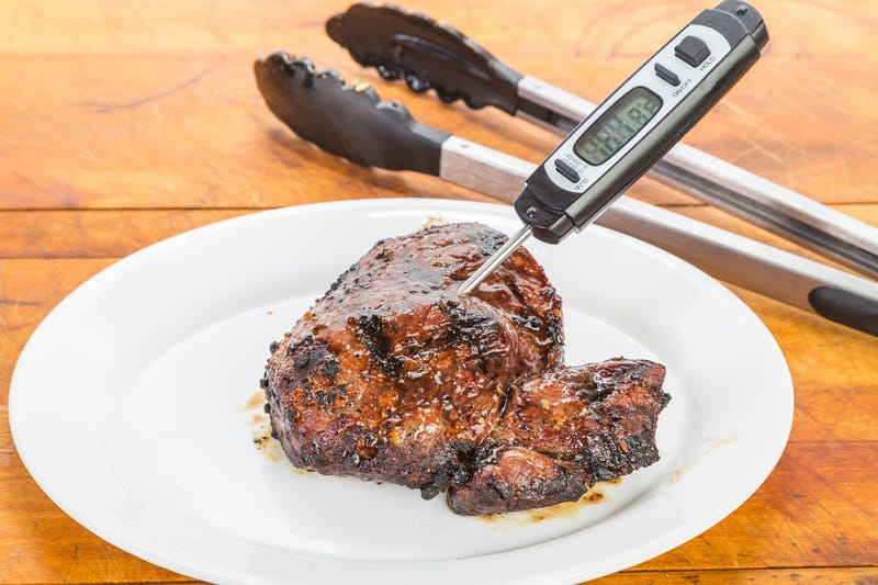 using meat thermometer