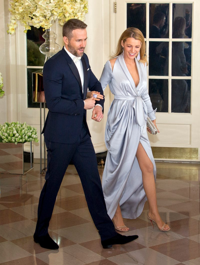 ryan reynolds and blake lively arrive for the trudeau state dinner