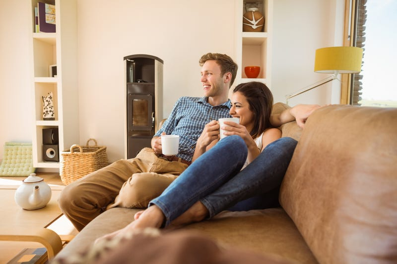 couple relaxes at home and does nothing