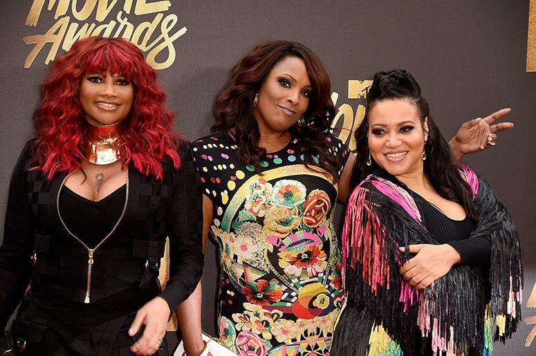 Sandra 'Pepa' Denton, DJ Spinderella and Cheryl 'Salt' James of Salt-N-Pepa