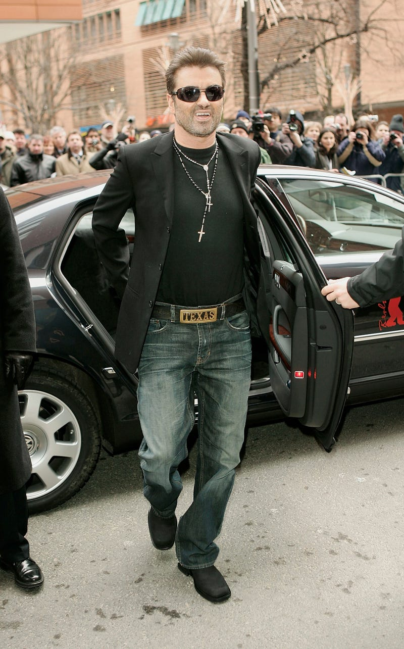 """Singer George Michael arrives at the Hyatt Hotel for the """"George Michael: A Different Story"""" Press Conference during the 55th annual Berlinale International Film Festival on February 16, 2005 in Berlin, Germany."""
